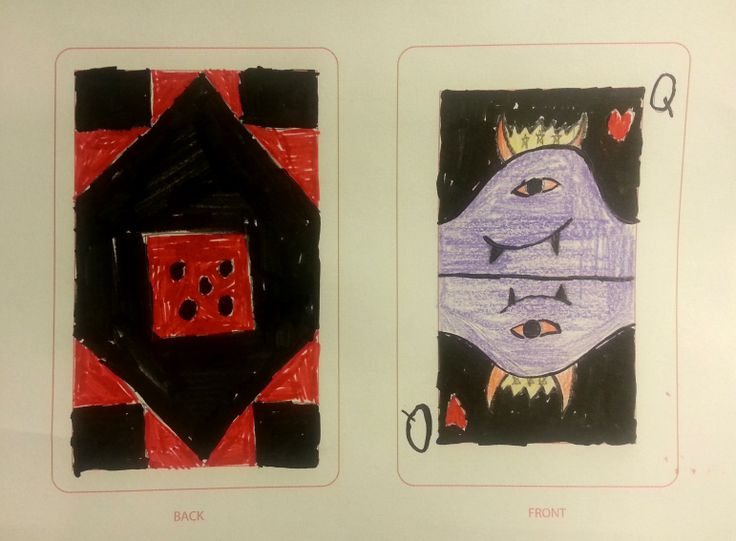 A new spin on The Queen of Hearts. Card concept by 11 year old Right Brain Lab student.
