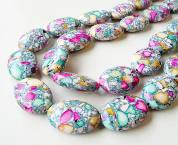 Mosaic Oval Beads, Pink Green Yellow White Mosaic  Natural Gemstone Beads (8) Pieces 26mmx18mmx8mm