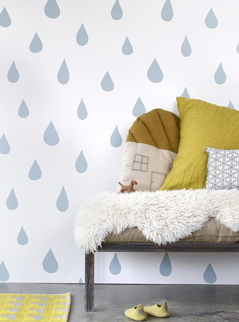 Raindrops Wallpaper In Ice Blue By Hibou Home
