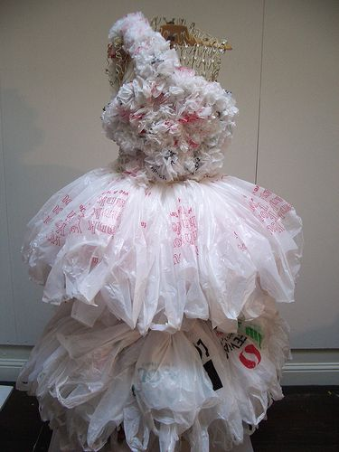 Bagalina white trash recycled plastic bag dress work-in-progress by Ruby Re-Usable by Ruby Re-Usable, via Flickr