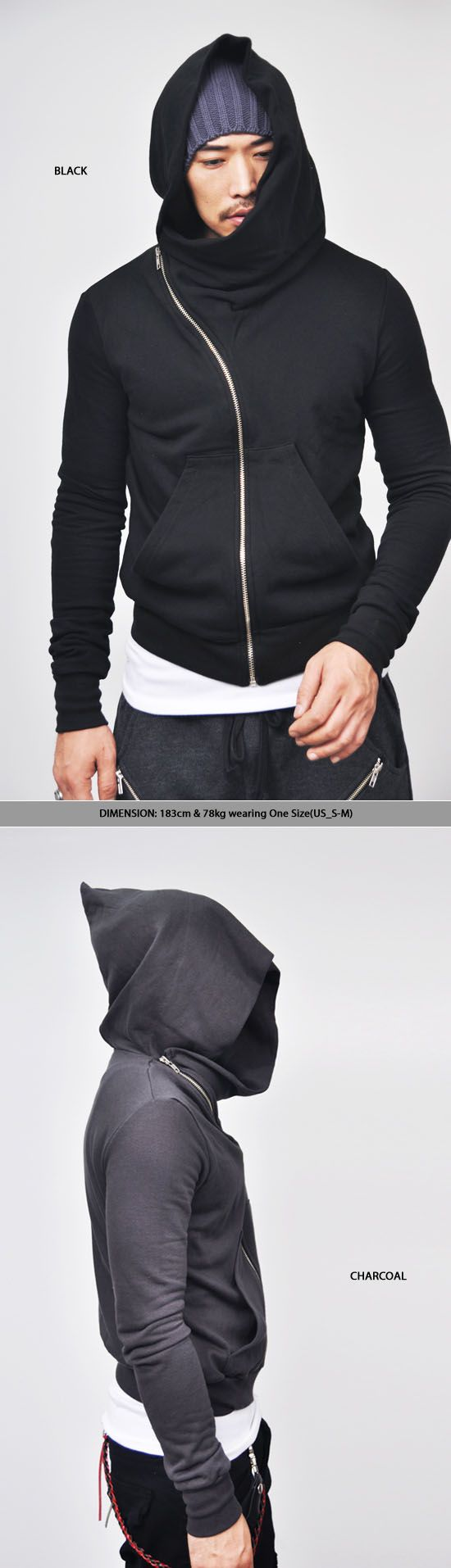 Tops :: Hoodies :: Avant-garde Diagonal Zipper Wizard-Hoodie 17 - Mens Fashion Clothing For An Attractive Guy Look