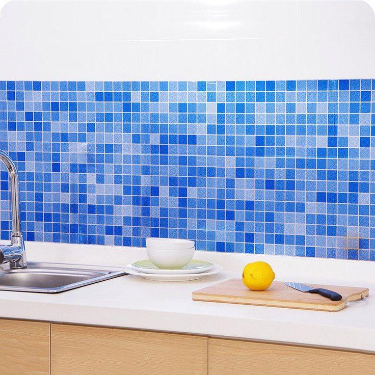 45x200 سنتيمتر ماء فسيفساء المطبخ ورق الألومنيوم احباط الذاتي adhensive مكافحة النفط مقاومة للحرارة جدار ملصقا diy ديكور المنزل 1