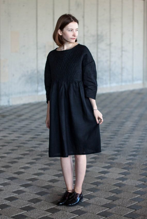 SALE Womens Linen Dress With Quilted Yoke Black от DALEKO на Etsy