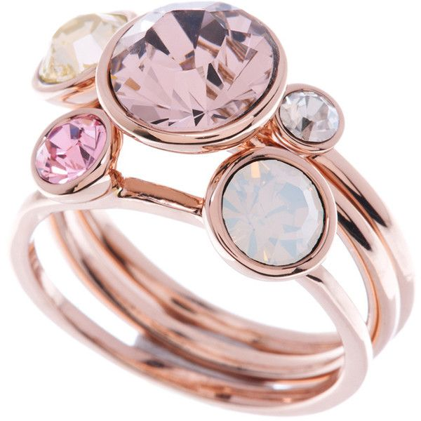 Ted Baker Jackie Jewel Stack Ring - Pink ($60) ❤ liked on Polyvore featuring jewelry, rings, stackable rings, cluster rings, pink jewelry, ted baker and stackers jewelry
