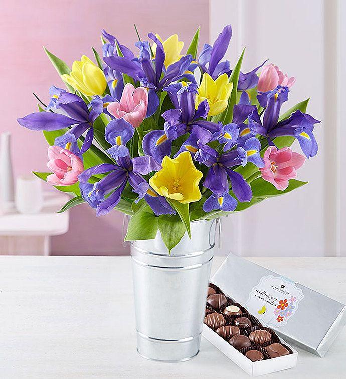 Fanciful Spring Tulip Iris Bouquet Flower Delivery Iris Bouquet Tulips Delivery