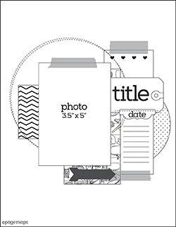 Great single focal photo LO sketch. #scrapbooking #scrapbook #layout #sketches #templates