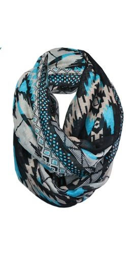 Tribal Scarf $19.95  http://www.silvericing.com/p1161/tribal-print-infinity-scarf/product_info.html?osCsid=48jc47e9gor265spdvkps7ic31