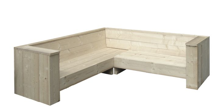Corner sofa in recycled wood by Usame. These are unique pieces that re-use wood coming from scaffolds.