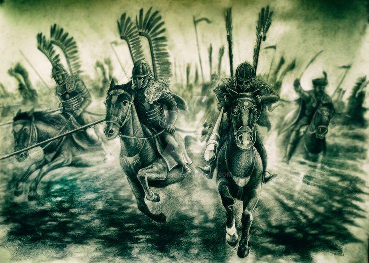 Polish Winged Hussars -a heavily armored shock cavalry study of the drawings (pencils, etc.) HUSARIA to siejące grozę polskie oddziały ciężkiej kawalerii z 17 wieku.....
