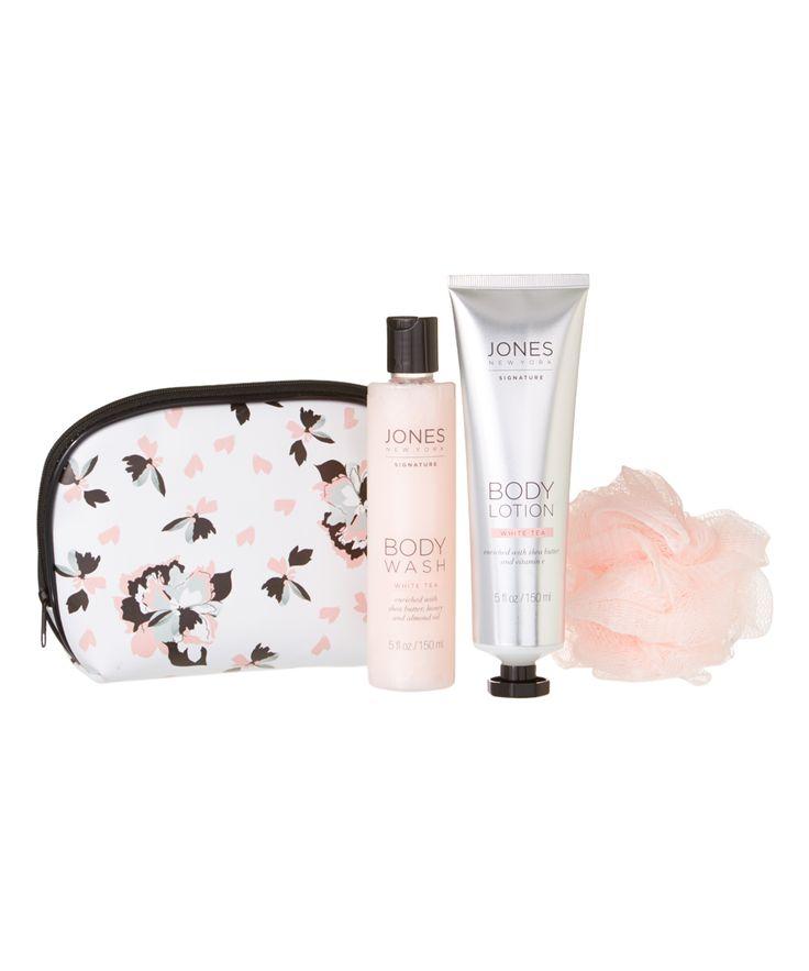 White Tea Body Lotion & Body Wash Floral Bag Set