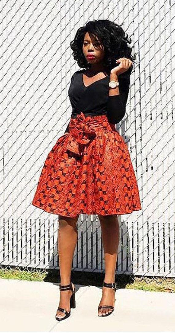 Ankara Skirt with waistbelt african print african by Veroexshop