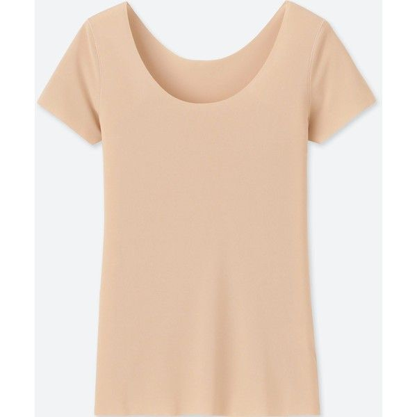 UNIQLO Women's Airism Seamless Short-sleeve T-Shirt ($9.90) ❤ liked on Polyvore featuring tops, t-shirts, beige, t shirts, tee-shirt, pink shirt, beige t shirt and uniqlo t shirt