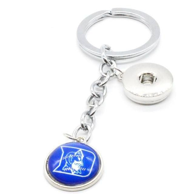 2017 Basketball Jewelry Keychain NCAA Duke Blue Devils Charms /18mm Snap Button Charms Car Keyring for Women Men Gift