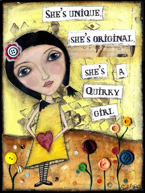Mixed Media Art: Quirky Girl - 5x7 print - Whimsical Art, Folk Art, Inspirational Art, Wall Art, Girl Art - yellow. $10.00, via Etsy.