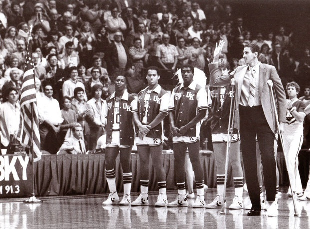 Sam Bowie was on crutches as he acknowledged the crowd during pre-game introductions during the 1982-83 season. Bowie missed two full seasons because of leg injuries that also shortened his NBA career.