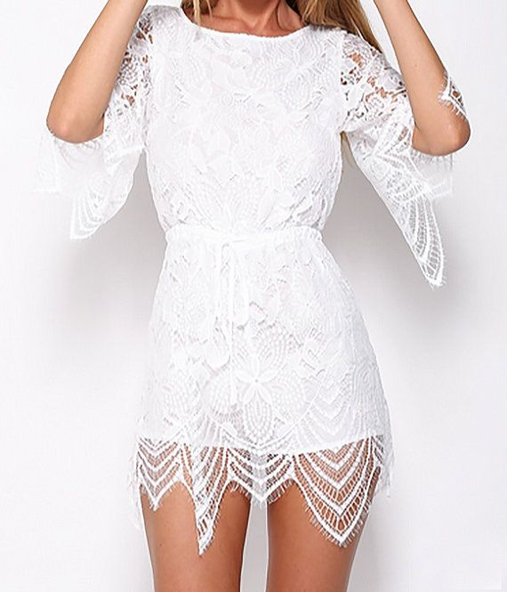 In Your Dreams Lace Romper White Backless Elastic by AlliexAndie