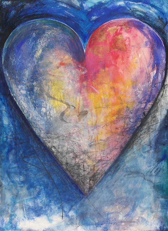 Jim Dine - Heart, Watercolor and chalk on cardboard