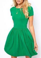Short Sleeve Green A Line Dress   modlily.com