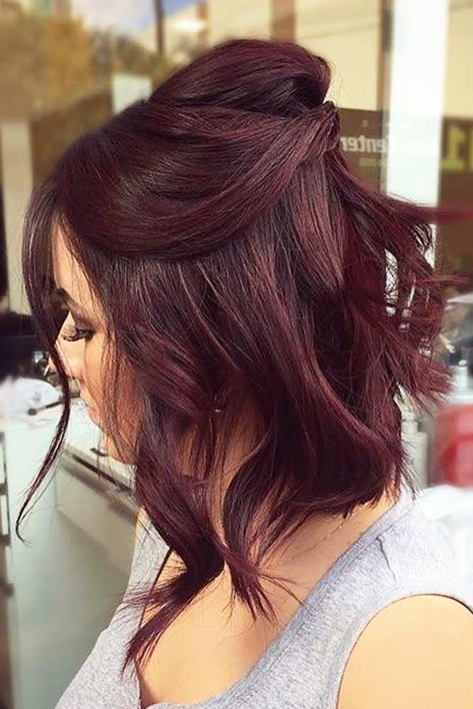 18 Medium Length Hairstyles For Thick Hair Hair Styles Burgundy Hair Short Hair Color