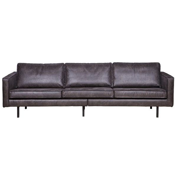 3 Sitzer Sofa RODEO Echtleder Leder Lounge Couch Garnitur schwarz
