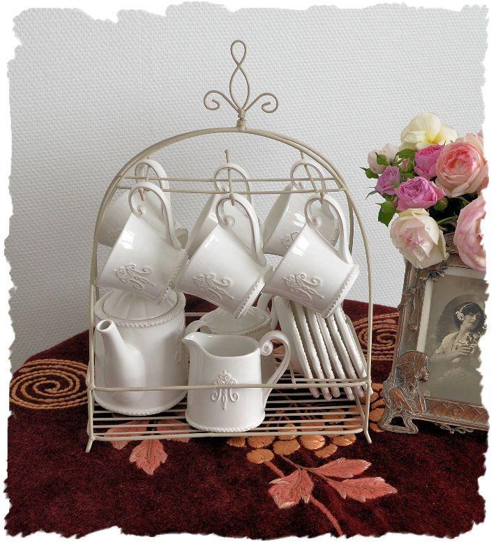 details zu kaffeeservice teeservice weisses porzellan im landhausstil vintage home kaffee. Black Bedroom Furniture Sets. Home Design Ideas
