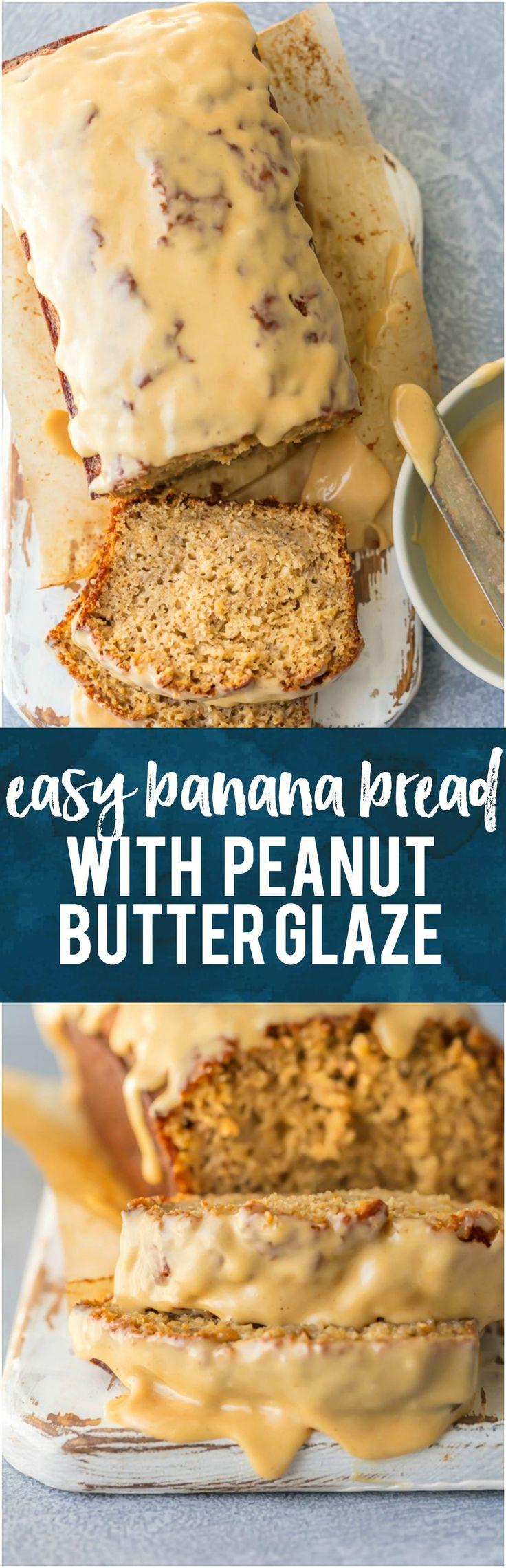 Easy Banana Bread with Peanut Butter Glaze