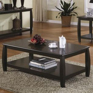 Transitional Espresso Wood Shelves Coffee Table