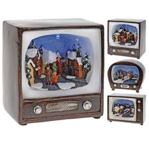 Τηλεόραση διακοσμητική φωτιζόμενη με χριστουγεννιάτικη παράσταση σε τρία σχέδια