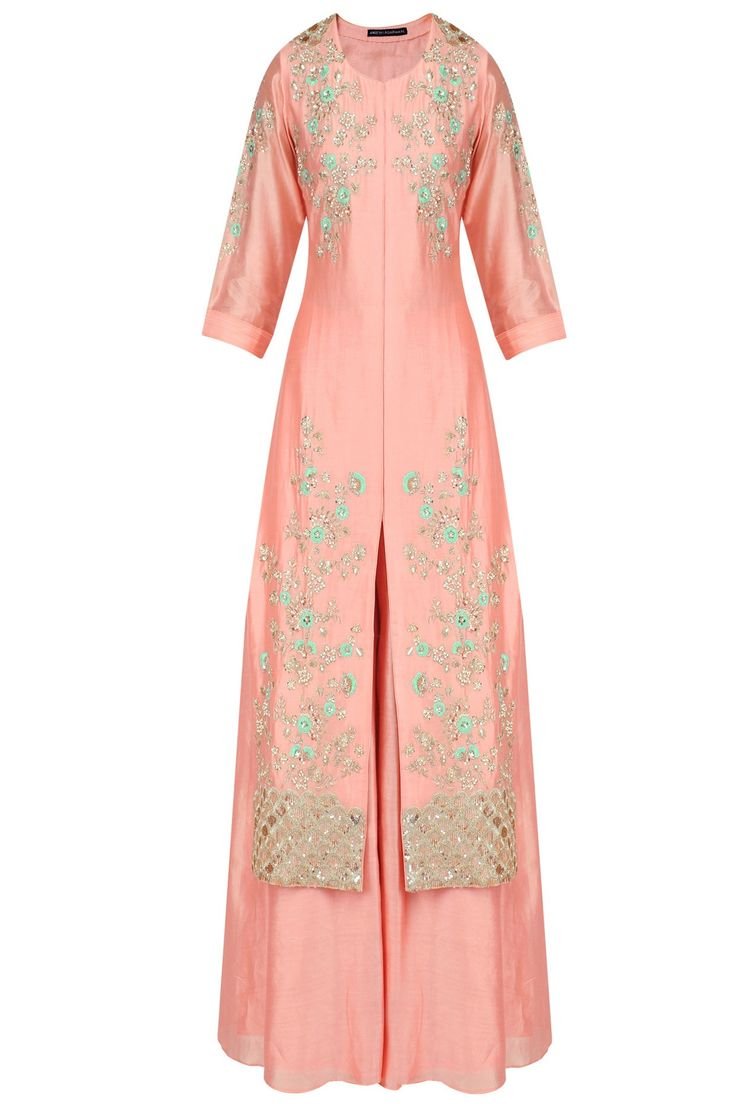 Peach floral embroidered flared anarkali kurta and lehenga set available only at Pernia's Pop Up Shop.
