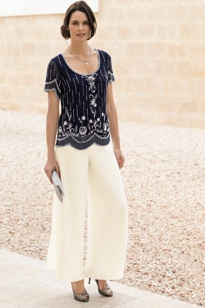 Delicate Chiffon With Beading Two Piece Mother Of The Bride Pants Suits Nmo 004