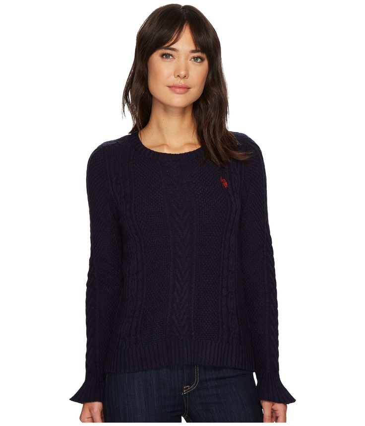 U.S. POLO ASSN. Ruffle Sleeve Cable Knit Sweater