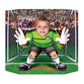 Snap a picture with this Soccer Photo Op. Each cardboard Soccer Photo Prop measures 3 feet 1 inch X 25 inches and is printed on one side only.