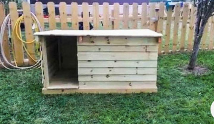 12 Pallet Dog House Plans Legend Handyman Pallet Dog House Diy Dog House Pallets Dog House