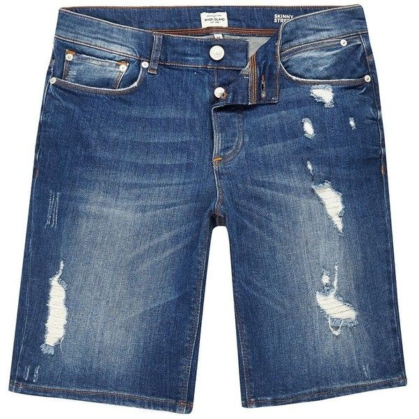 River Island Blue wash distressed slim fit denim shorts ($64) ❤ liked on Polyvore featuring men's fashion, men's clothing, men's shorts, shorts, mens jean shorts, tall mens clothing, slim and tall mens clothing, slim fit mens clothing and mens distressed denim shorts
