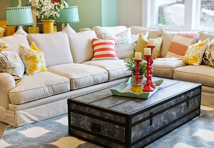 House of Turquoise: Highland Custom Homes - love the colorful pillows and accents w/neutral furnishings