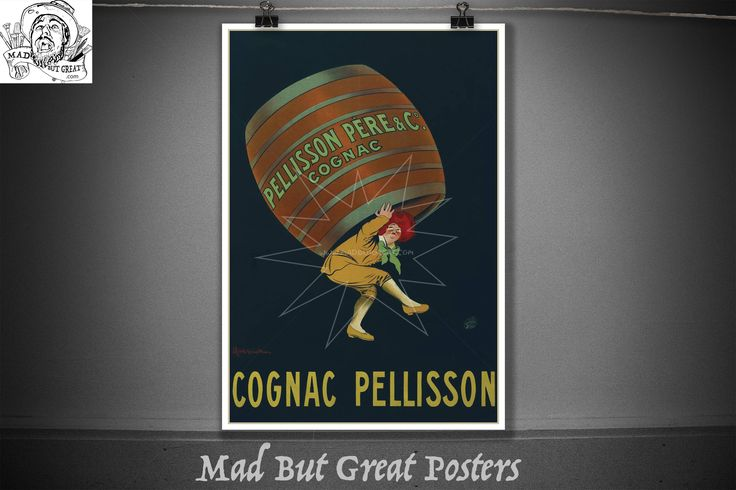 Cognac Pellisson Leonetto Cappiello, 1907, drink poster, italian gifts, kitchen wall art, retro poster, travel poster, food and drink, decor by MadButGreatPosters on Etsy
