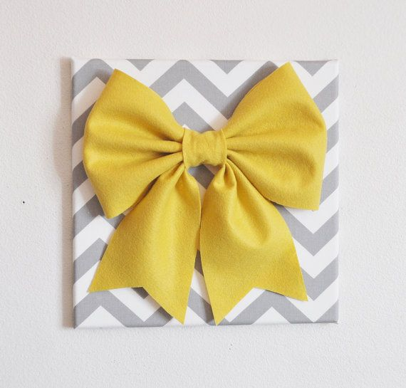 Large Mellow Yellow Bow on Gray and White Chevron 12 x12 Canvas Wall Art- Baby Nursery Wall Decor- Zig Zag via Etsy