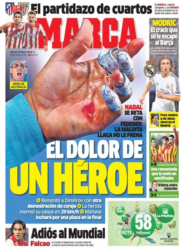 'El dolor de un héroe'   La portada del 23 de enero de 2014