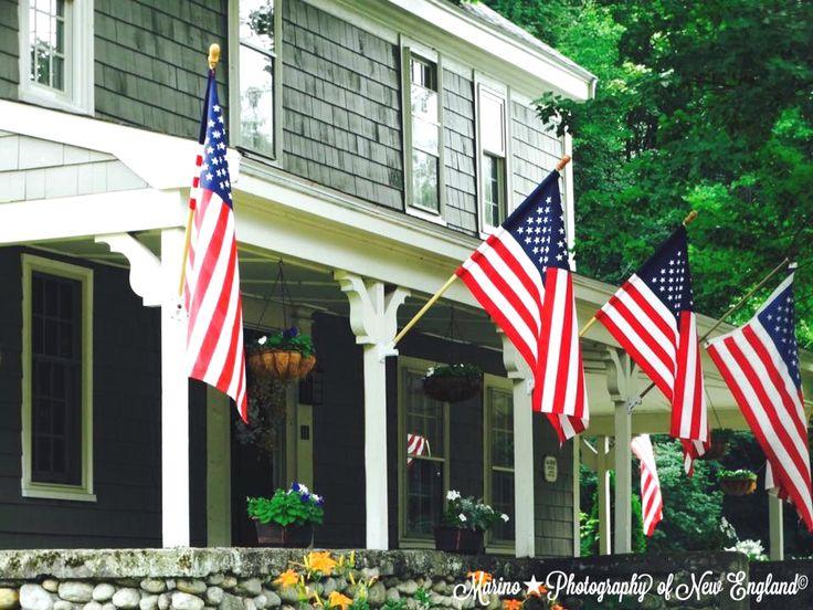 New England Farmhouse, American flag