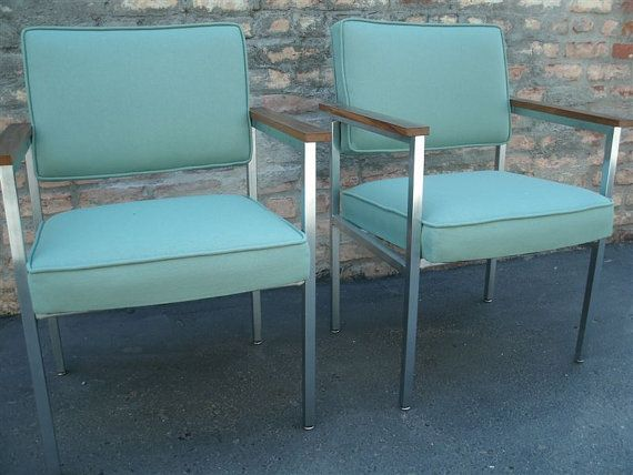 Teal and chrome midcentury office chairs for guest seating.  (Metal and wood MidCentury Office Chairs by TheBackSeat on Etsy, $175.00)