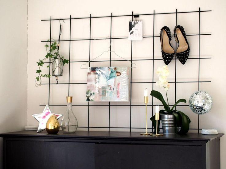 Armeringsnät som väggförvaring/dekoration