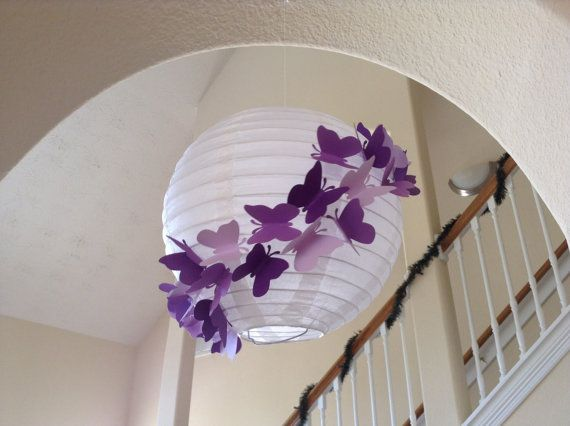 "8"" Purple Rain, paper lantern, butterfly lantern, princess room decor, butterfly party, butterfly birthday, hanging lantern, butterfly decor on Etsy, $14.23 AUD"