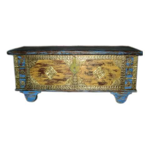 Antique Wooden Brass Blue And Yellow  Box With Wheel - FOLKBRIDGE.COM   Buy Gifts. Indian Handicrafts. Home Decorations.