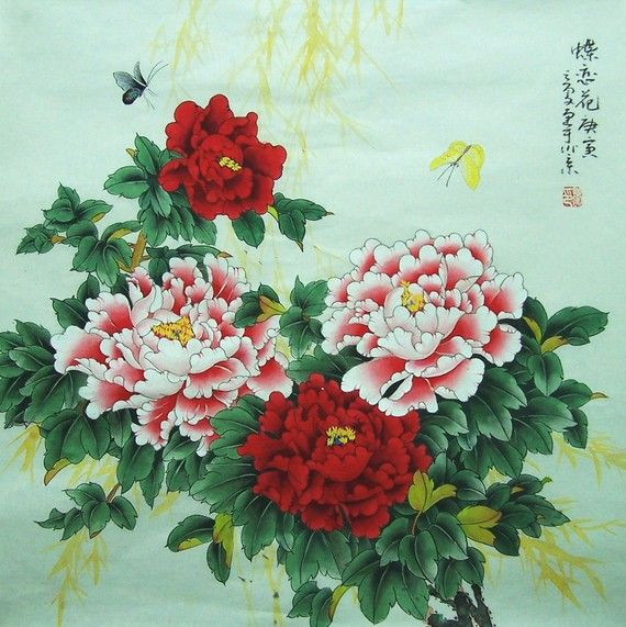 original chinese traditional painting peony with by art68 on Etsy, $218.00