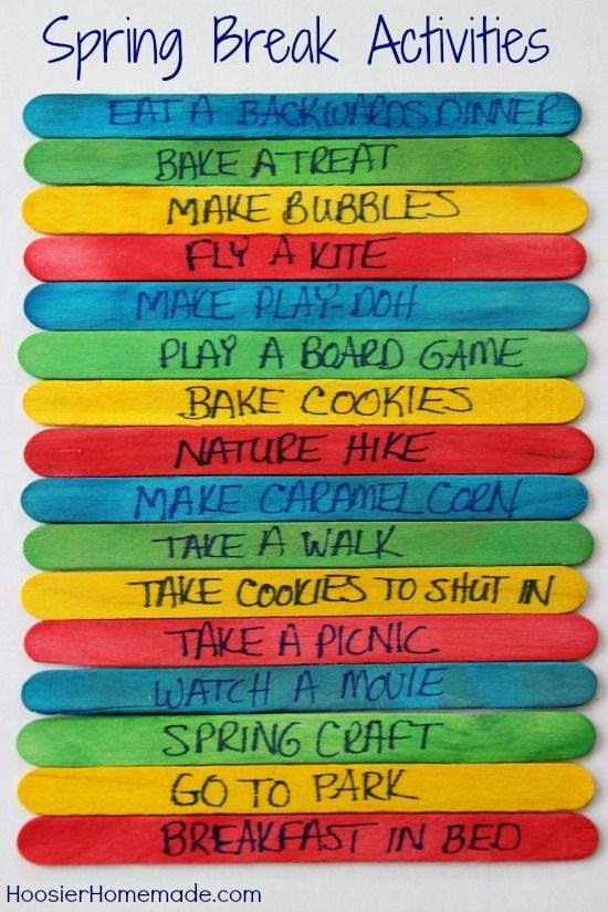 Spring Break Activities... We've already done most of these with the kids but definitely a good list
