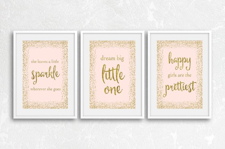 Dream Big Little One, She Leaves A Little Sparkle, Happy Girls Are The Prettiest, Girls Room Prints, Pink and Gold Prints, Gold Decor by…