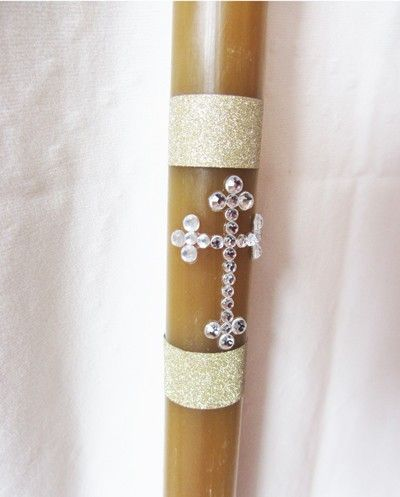 (http://www.orthodoxgifts.com/18-beeswax-candle-with-rhinestone-cross-embellishment/)