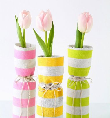 DIY Fabric covered spring vases // Unalmas üveg vázák új ruhában - tavaszi textil borítású vázák // Mindy - craft tutorial collection //