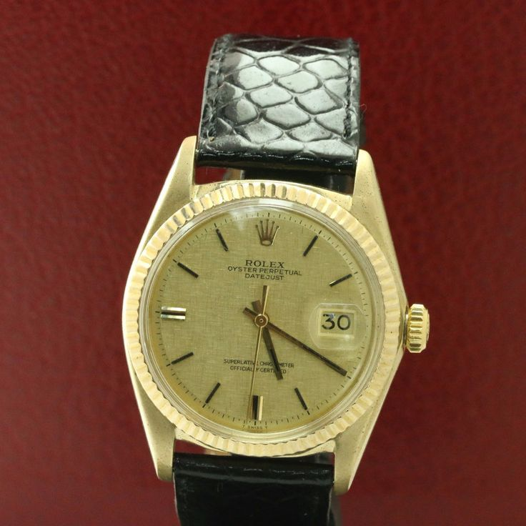 Rolex 18k Yellow Gold Men's Datejust 1601 Champagne Linen Index Dial #Rolex #Casual