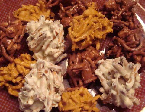 Haystacks ~ 3 Kinds! Butterscotch Peanut Butter Haystacks, White Chocolate Pretzel Haystacks, Chocolate Hay Stacks